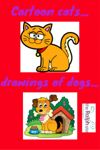 Cartoon cats and drawings of dogs